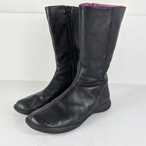 Camper Beetle Zip Up Leather Black Boots